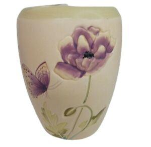Bathroom Toothbrush & Toothpaste Holder Ceramic Embossed Purple Poppy Butterfly