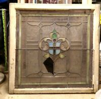 """Antique Stained Glass Upper sash window w/ shield motif - 36-1/8x35-5/8"""""""