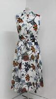 HOBBS Ladies Ivory Multi Belinda Belted Collared Fit & Flare Dress UK16 NEW