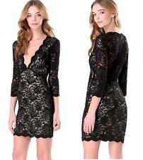 NWT bebe black nude lace overlay deep v neck scallop top dress sexy XL 12 club