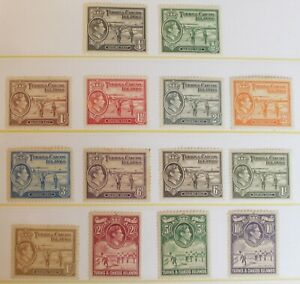 Turks & Caicos – 1938 Definitive Set – Complete – Mint – Some Toning (R8)
