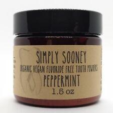 Organic Vegan Fluoride Free Tooth Powder Peppermint Formula 3 Month Supply Jar