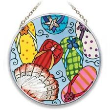 "Flip Flops Art Glass 4.5"" Suncatcher - Mc486R"