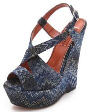 NEW $800 MISSONI BLUE CHEVRON 70s STYLE PLATFORM WEDGES SANDALS SHOES 37 7