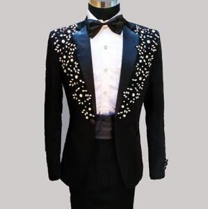 UK Men Tuxedo Suit Formal Wedding Sequins Floral Blazers  Slim Jacket Pants Suit