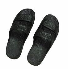 Rubber Sandal Slippers, Double Strap Slide on, Hawaii Original Black Sandals