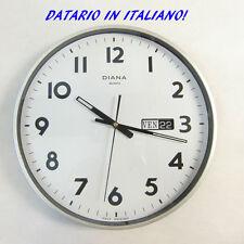 Orologio da parete con datario in Italiano  garanzia 2 anni bordo grigio