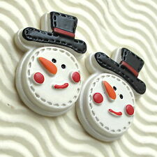 "10pc x (1 3/8"") Hand Painted Resin Smiley Snowman Christmas X'Mas Flatback SB518"