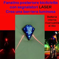 FANALINO POSTERIORE luce BLU PER BICICLETTA CON LASER - BICI BIKE LIGHT