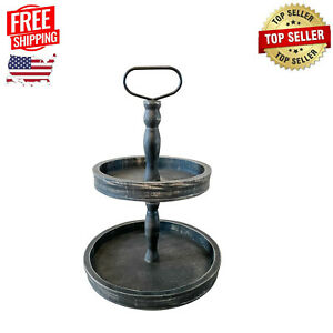 Black Wood Tiered Serving Stand, Two Tiered Tray, Rustic Farmhouse Kitchen Decor