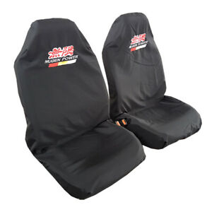 Slip On Car Seat Covers Black Throw Over Embroidery Front Pair