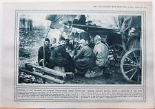 1915 WWI WW1 PRINT SERBIAN SOLDIERS RESTING ROUND CAMP FIRE IN RAIN