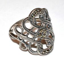 Intricate Vintage RJ Solid 925 Sterling Silver Marcasite Ring! Size 7!