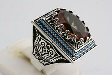 Turkish Ottoman 925 Sterling Silver Topaz Zultanite Turquoise  Mens Ring Size 10