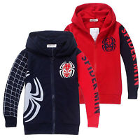 Kids Boys Hoodie Hooded Jacket Coat Outwear Superhero Spiderman Cosplay Costume
