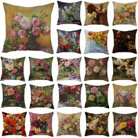 "18"" Vintage Flower Linen Waist Throw Pillow Case Home Sofa Decor Cushion Cover"