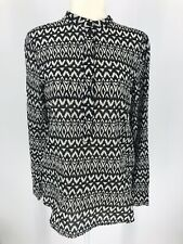 H&M Aztec Popover Top Sz 4 Black & White Print Long Sleeve Cotton Hi-Low Buttons