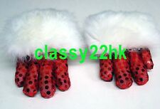 2 CLAWS (FOR ONE DANCER) RED SEQUIN WITH WHITE SHEEP FUR LION DANCE CLAWS (NEW)