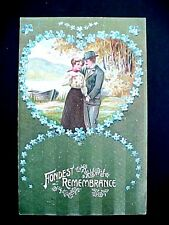 Early 1900 Valentines Day Postcard / Fondest Remembrance / Germany