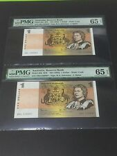 1983 Australia, Reserve Bank QE II $1 P-42d R78 Consecutive PMG 65 EPQ