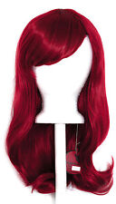 20'' Wavy Cut with Long Bangs Burgundy Red Cosplay Wig NEW