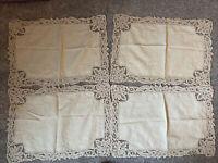Vintage Cloth Linen Dresser Scarf Embroidered Beige Doily Doilies Lace Place Mat