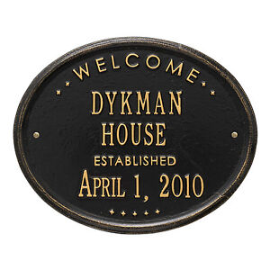 """Welcome Oval """"House"""" Established Personalized Plaque"""