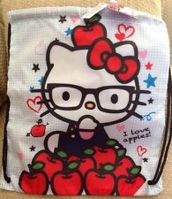 NWT LOUNGEFLY HELLO KITTY BACKPACK PURSE I LOVE APPLES WHITE RED BLUE HEARTS