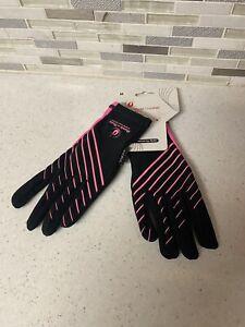 Ladies Rock-n-roll marathon Nofel Running Gloves Neon Pink & Black Sz M NEW