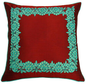 S4Sassy Decorative Maroon Square Bed Pillow Case Floral Embroidered-YLp