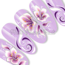 Nail Art Long Nails Water Decals Transfers Stickers Purple Flower SL037B Silver