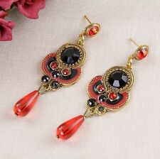 E14  Long Red and Black Festival Boho Ethnic Stud Earrings