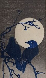 Japanese woodblock print ~ crows in moonlight