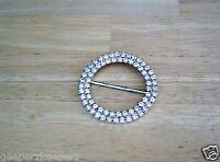 "RHINESTONE 2 1/4"" Round BELT BUCKLE Double Row Sparkling Crystal 1 1/2"" Belt NOS"