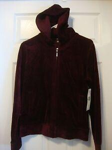 Women's NWT JONES NEW YORK SPORT velour cardigan hoodie sweatshirt, size M