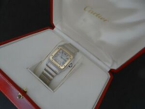 CARTIER SANTOS GALBEE 18K GOLD & STAINLESS STEEL 566 QUARTZ 29mm BOX