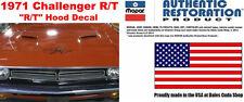 1971 DODGE CHALLENGER R/T HOOD DECAL FLAT BLACK LICENSED USA