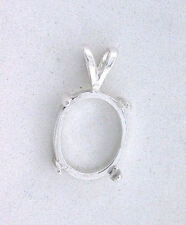 14x10 14mm x 10mm Oval Cabochon Cab Pendant Sterling Silver Prenotched Mounting