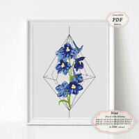 Delphiniums flowers tattoo art - Embroidery Cross stitch PDF Pattern - 231