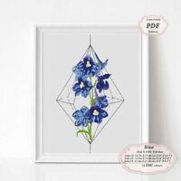 Delphiniums flowers tattoo art - Embroidery Cross stitch PDF Pattern - 231