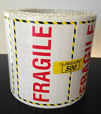 500 FRAGILE 104mm x 74mm label stickers for postal parcels, shipping and freight