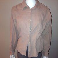 Edide Bauer Button Down Shirt Size Large Womens Blouse Pink Long Sleeve Corduroy