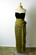 Victoria Royal Mary Bays Long Strapless Silk Dress Size XS Olive color