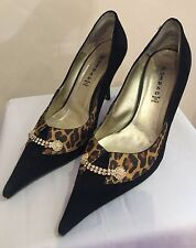 Rosy Peluso Black Suede & Leopard Print Evening Shoes Euro 38 UK 5