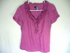 Talbots Size 2 Women Pinkish/ Purple V Neck Blouse Excellent Condition