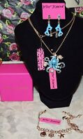 3PC BETSEY JOHNSON BLUE OCTOPUS W/CRYSTALS NECKLACE CORAL EARRINGS & BRACELET