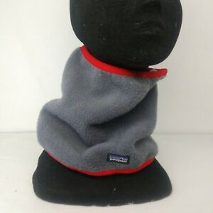 Patagonia Unisex Gray Red Fleece Neck warmer face cover Stretch