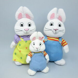 """Set of 3 Ty Beanies Max and Ruby Bunny Rabbits plush soft toy bundle 11"""" 7"""""""