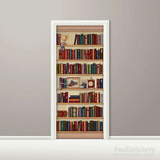 Bookshelf Wallpaper Door Mural Art Photo Clock Poster Wall Sticker Contact Paper