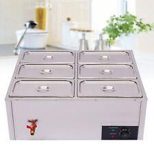 6 Pot Electric Food Warmer Steamer Bain Marie Buffet Countertop Steam Table 850w